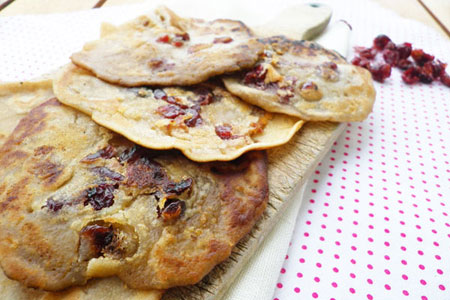 Pancakes vegan aux cranberries