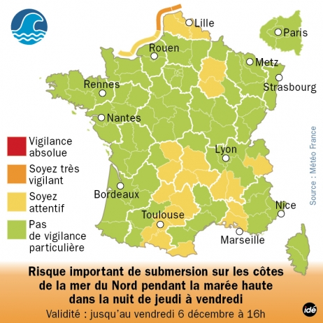 Le Nord-Pas-de-Calais en vigilance orange vagues-submersions
